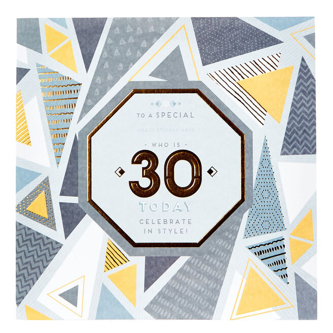 Exquisite Collection 30th Birthday Card - Any Male Recipient (Stickers Included)