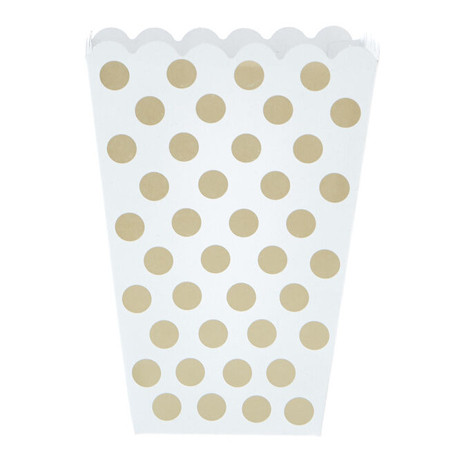 Gold & White Dotty Treat Boxes - Pack Of 8