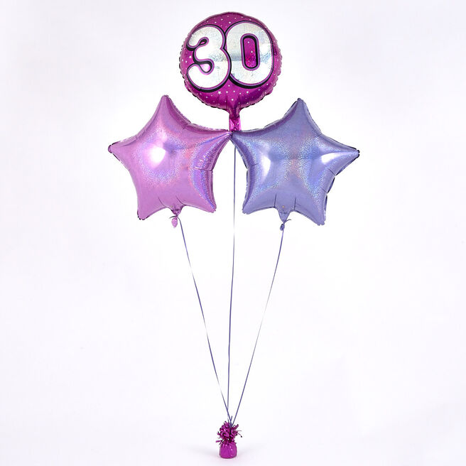 Pink 30th Birthday Balloon Bouquet - DELIVERED INFLATED!