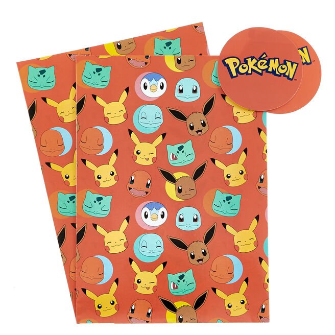 Pokémon Wrapping Paper & Gift Tags - Pack of 2