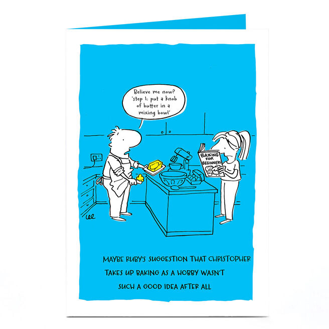 Personalised Card - Knob Of Butter Cartoon