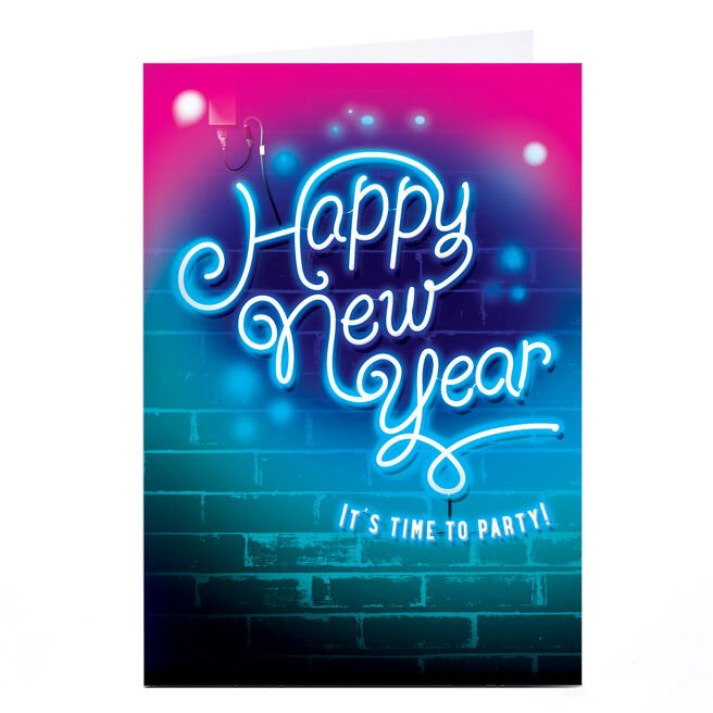 Personalised New Year Card - Neon Sign