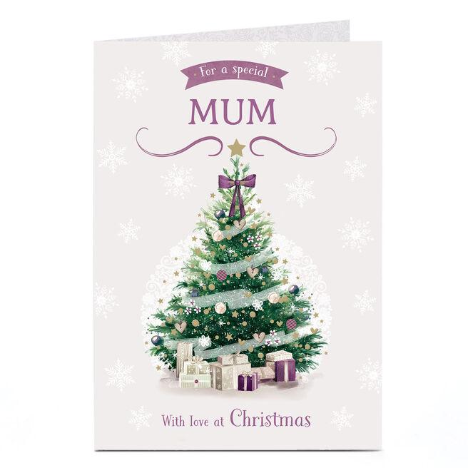 Personalised Christmas Card - Purple Christmas Tree