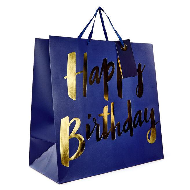 Jumbo Gift Bag - Blue, Happy Birthday