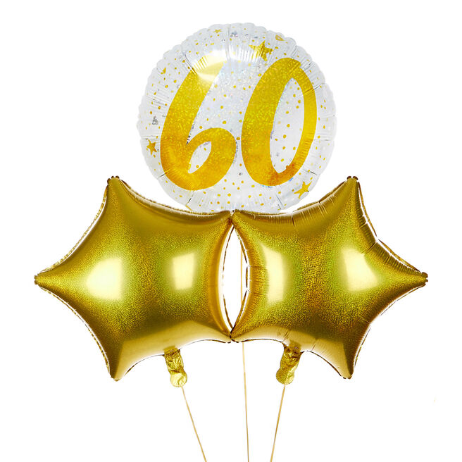 Gold & Silver 60th Birthday Balloon Bouquet - The Perfect Gift!