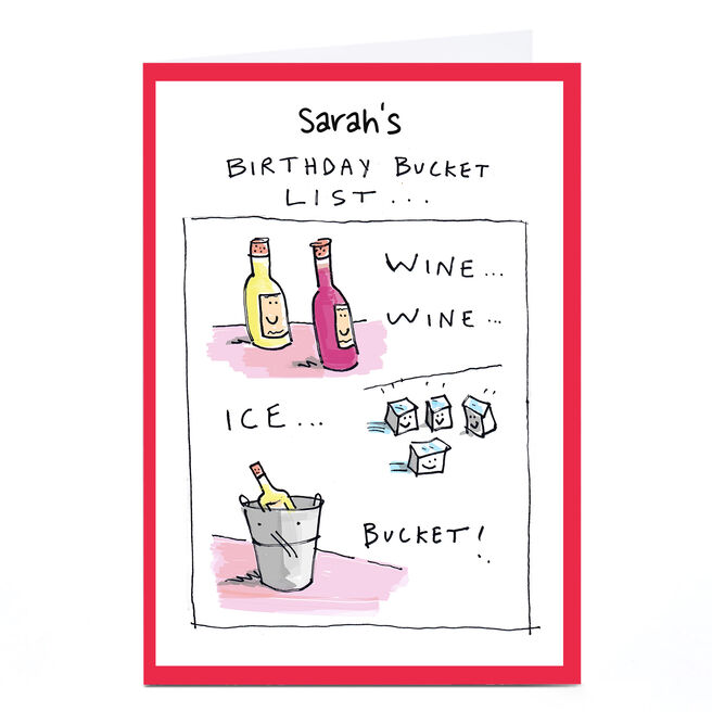 Personalised Vicar Of Scribbly Card - Birthday Bucket List
