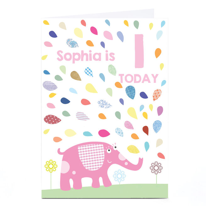 Personalised Any Age Birthday Card - Pink Elephant