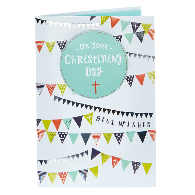 Christening Card - Best Wishes, Bunting