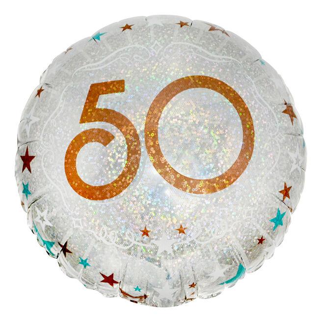 Silver & Bronze 50th Birthday 18-Inch Foil Helium Balloon