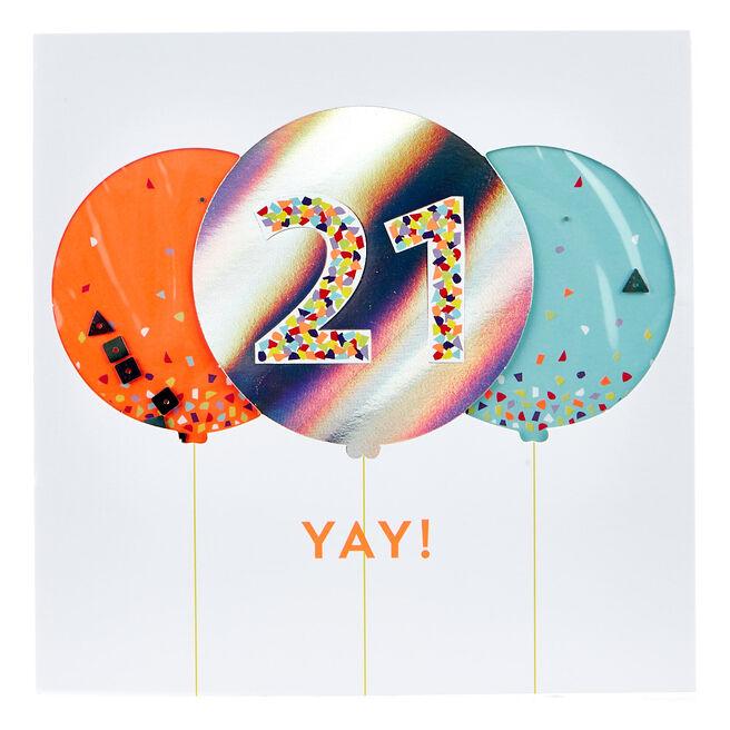 VIP Collection 21st Birthday Card - Neon Confetti