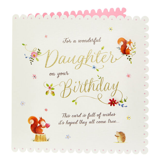 Exquisite Collection Birthday Card - Daughter, Woodland Creatures