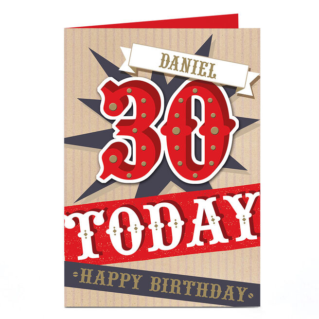 Personalised 30th Birthday Card - Red & Gold
