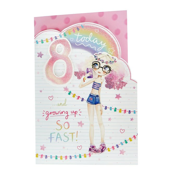 8th Birthday Card - Growing Up So Fast