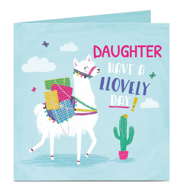 Personalised Birthday Card- Lovely Llama, Daughter
