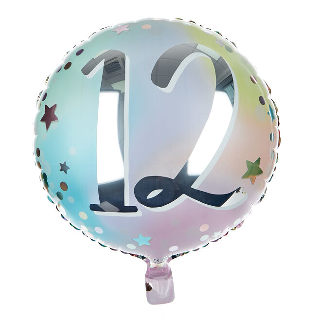 Starry Pastels 12th Birthday 18-Inch Foil Helium Balloon