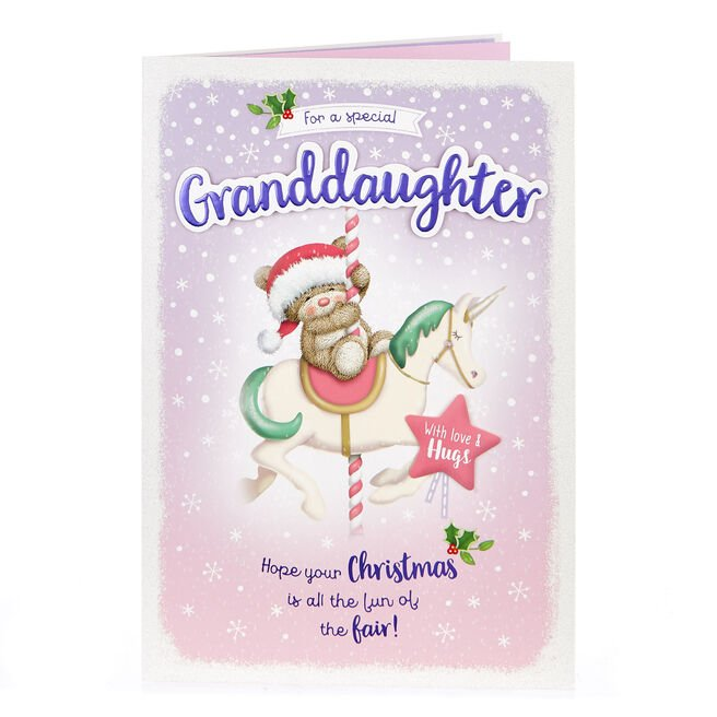 Hugs Bear Christmas Card - Special Granddaughter