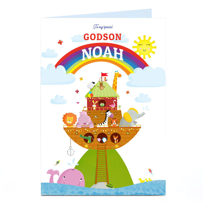 Personalised Baby Card - Animal Ark & Rainbow, Special Godson