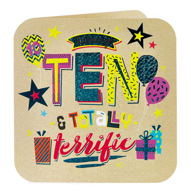 Platinum Collection 10th Birthday Card - Totally Terrific