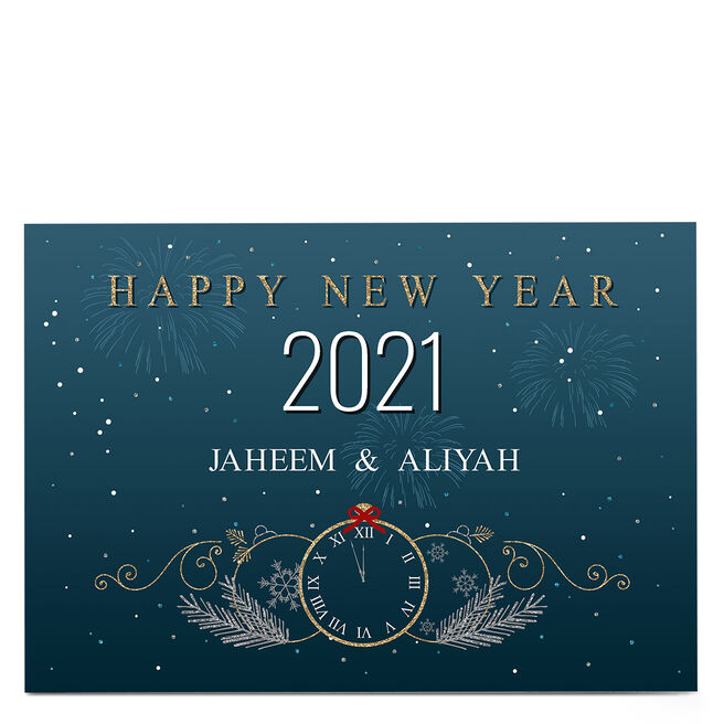 Personalised Christmas Card - Happy New Year Clock