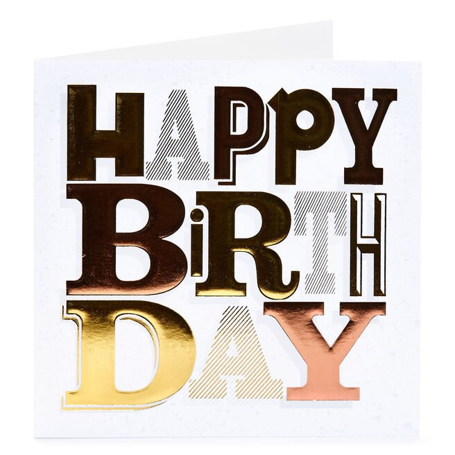 Birthday Card - Bold Foil Letters