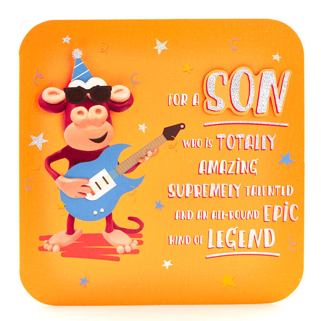 Exquisite Collection Birthday Card - Son Monkey