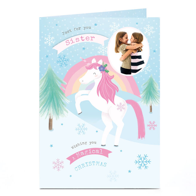 Personalised Photo Christmas Card - Unicorn Magic Sister
