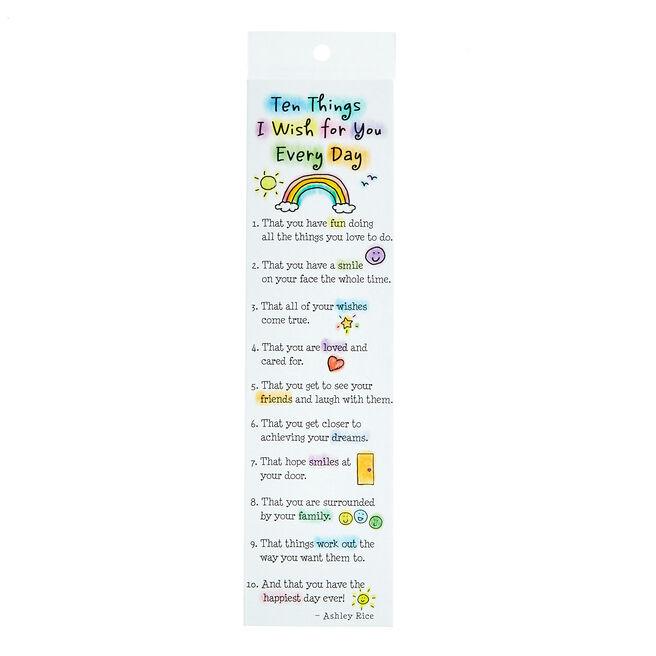 Blue Mountain Arts Bookmark - Ten Things I Wish For You