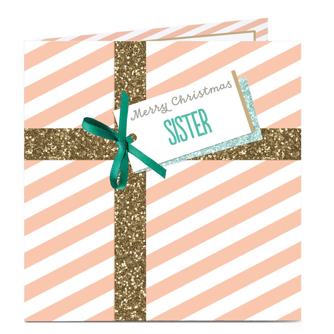 Personalised Christmas Card - Gold Glitter Present Sister