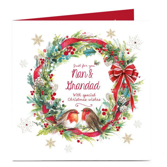 Personalised Christmas Card - Robin Wreath Nan and Grandad
