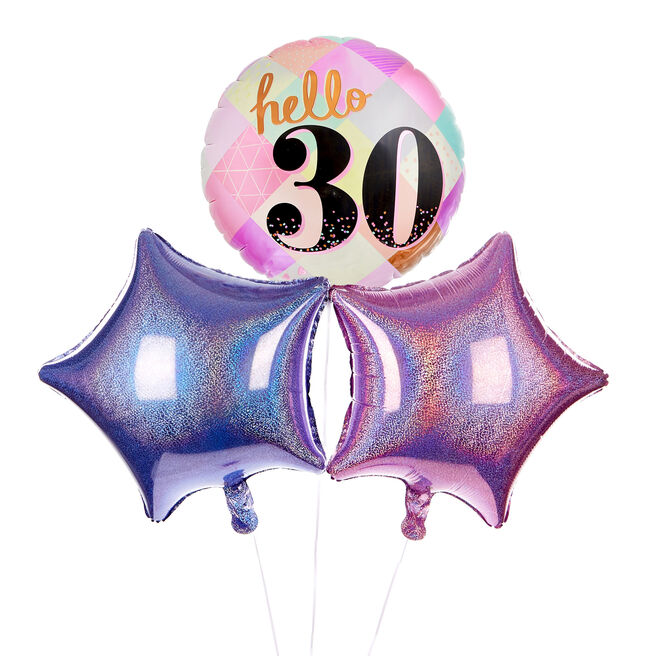 Hello 30th Birthday Balloon Bouquet - DELIVERED INFLATED!