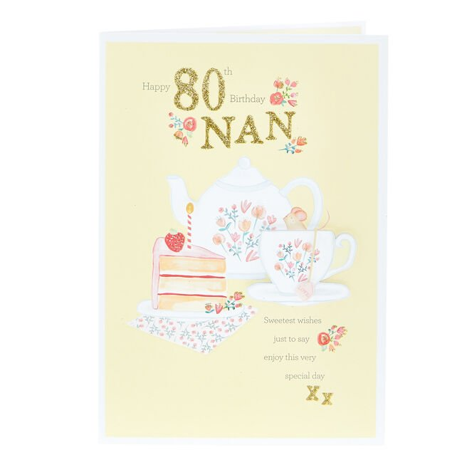 80th Birthday Card - Nan, Sweetest Wishes