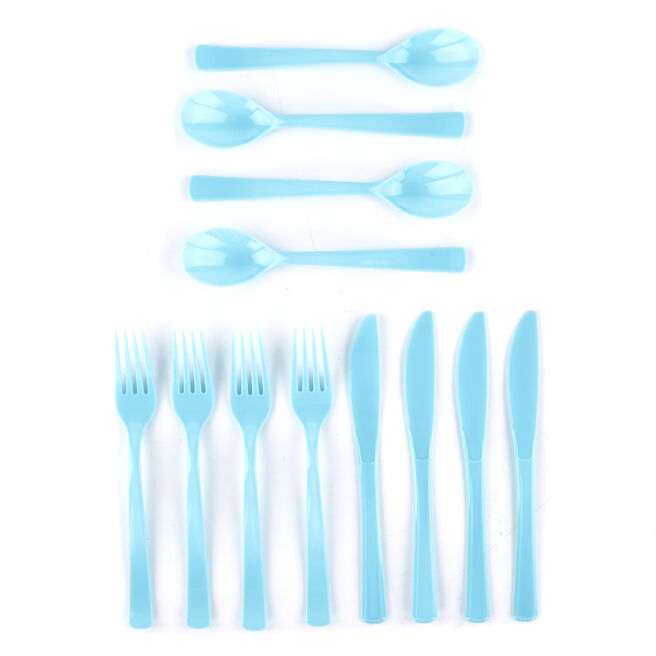 Reusable Baby Blue Plastic Cutlery Set - 18 Pieces