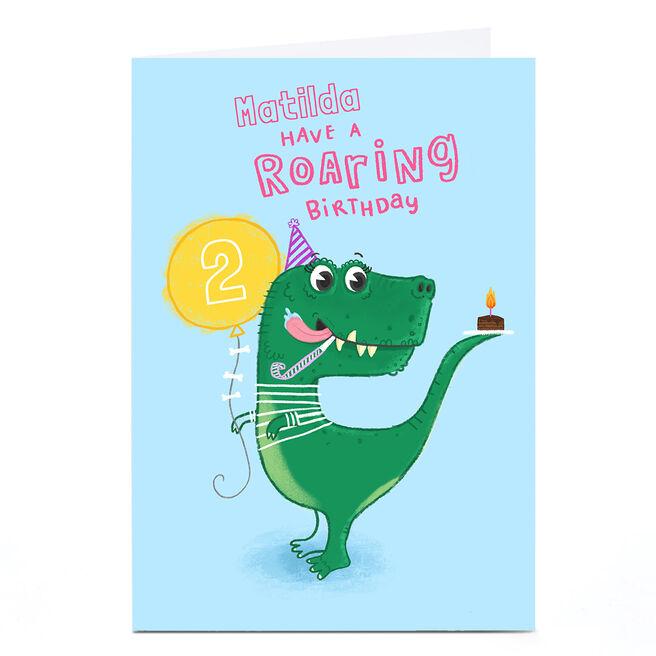 Personalised Blue Kiwi Card - Pink Roaring Birthday