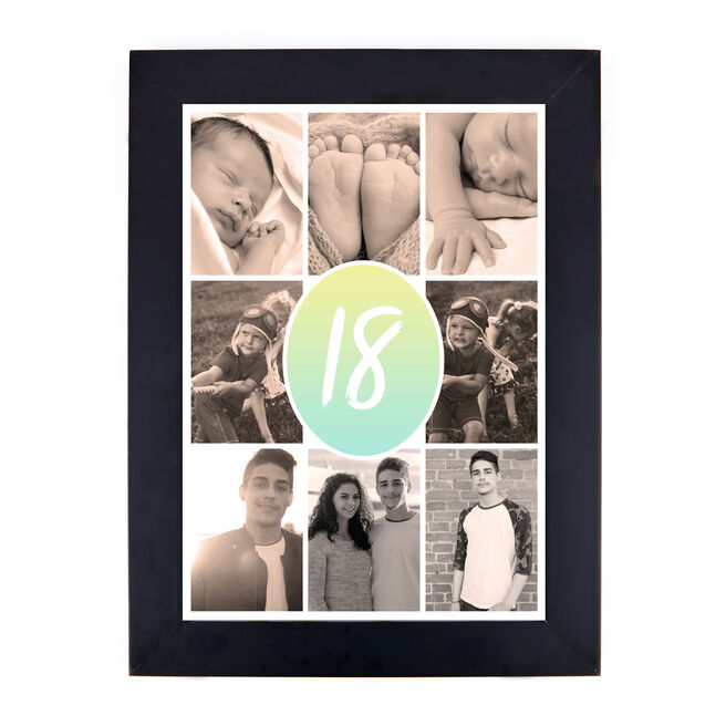 Personalised 18th Photo Print - Pastel Gradient Collage