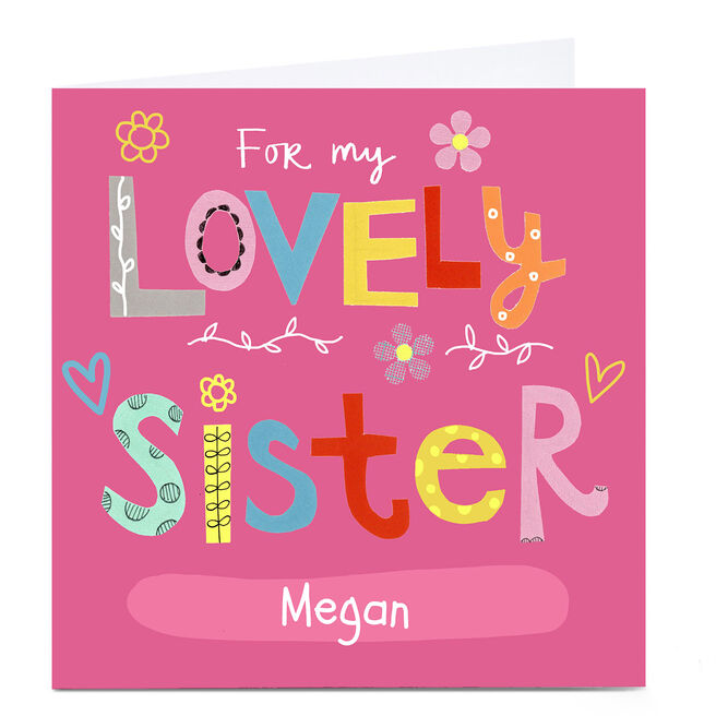 Personalised Lindsay Loves To Draw Card - Lovely Sister
