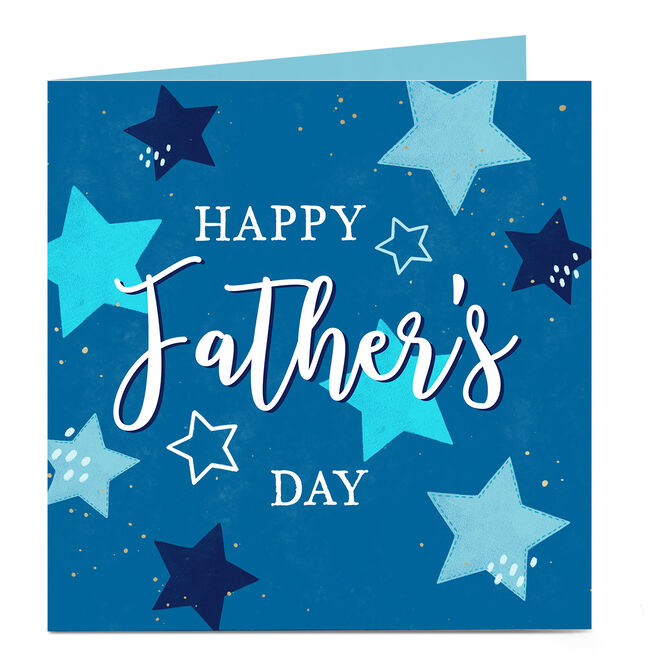 Personalised Father's Day Card - Blue Stars