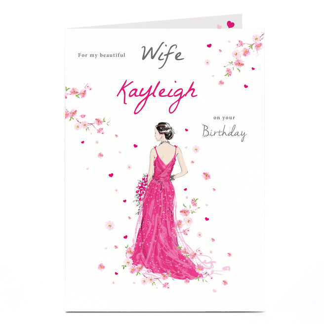Personalised Birthday Card - Pink Dress & Flowers