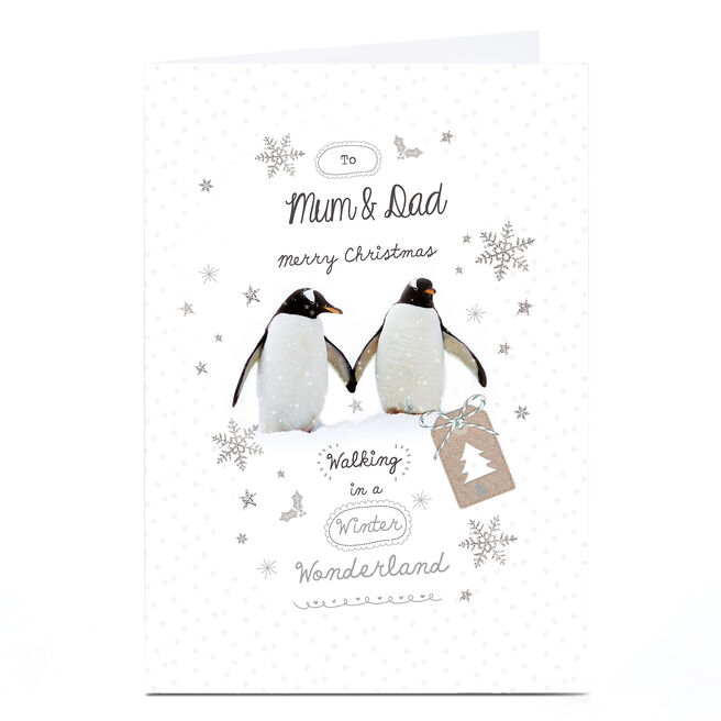 Personalised Christmas Card - Penguins - Mum and Dad