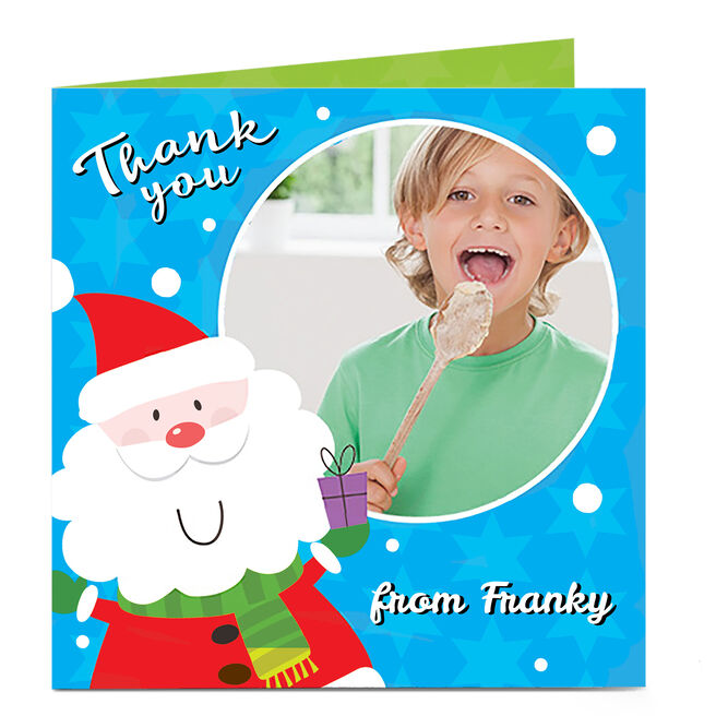 Photo Upload Thank You Card - Blue Santa