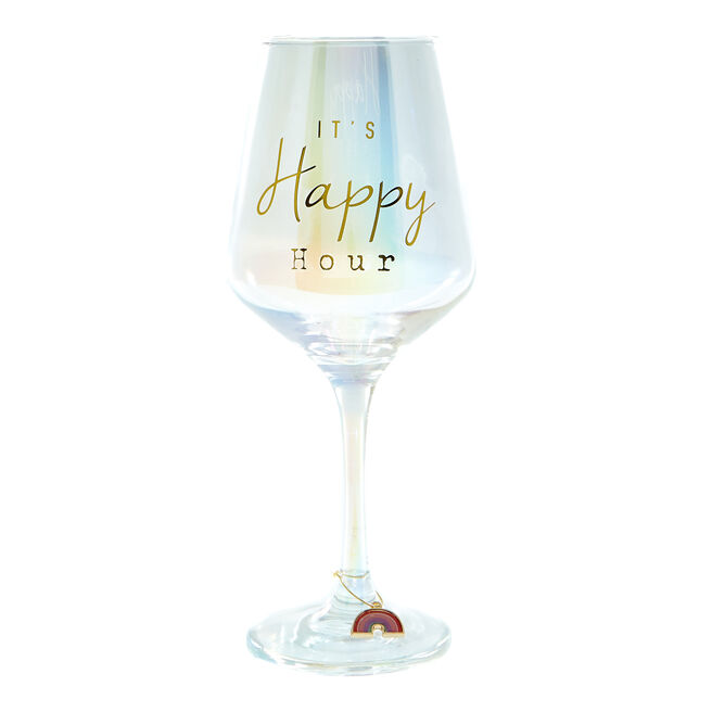 Happy Rainbows Wine Glass