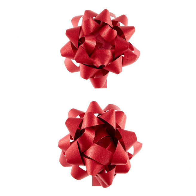 Red Glitter Gift Bows - Pack Of 2