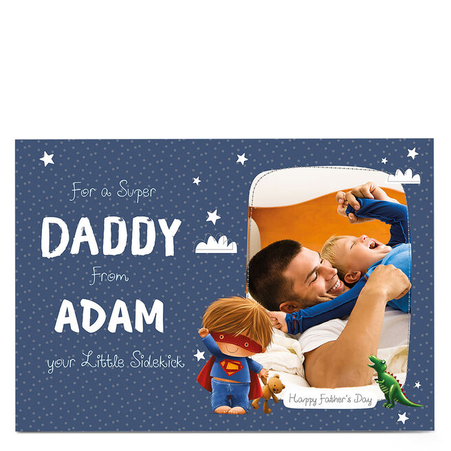 Photo Upload Father's Day Card - Super Daddy And Sidekick