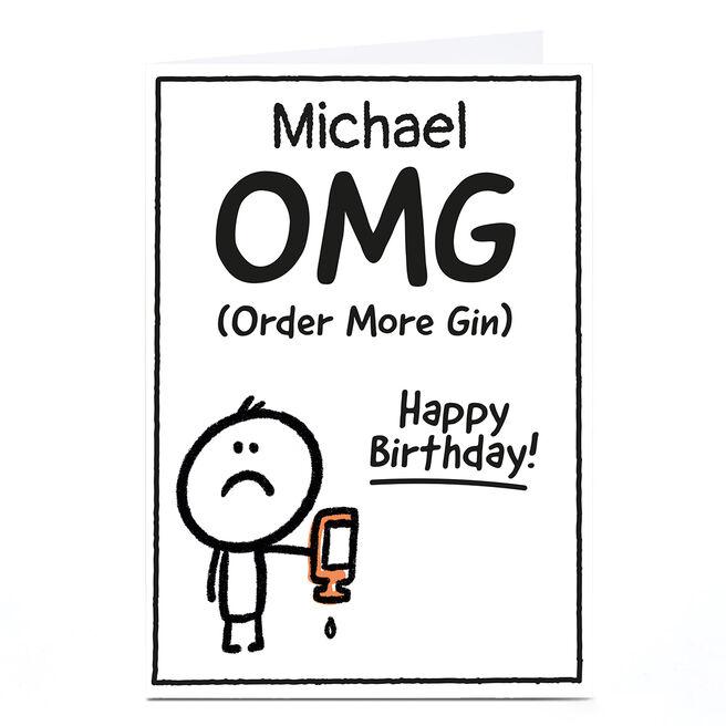 Personalised Scrawls Birthday Card - OMG