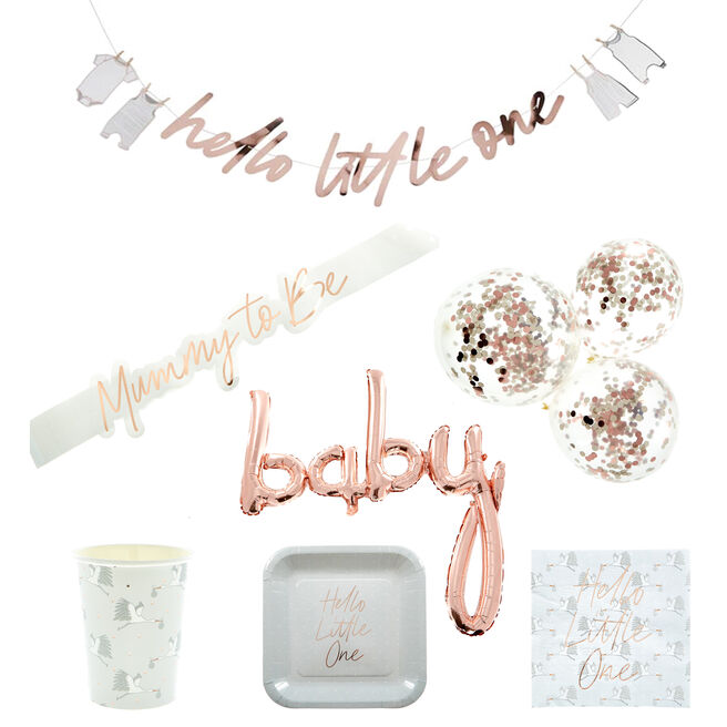 Rose Gold Baby Shower Party Tableware & Decorations Bundle - 43 Pieces