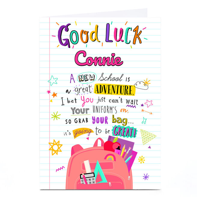 Personalised Good Luck Card - New School