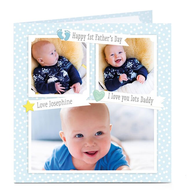 Multi Photo Upload Father's Day Card - 1st Father's Day Daddy
