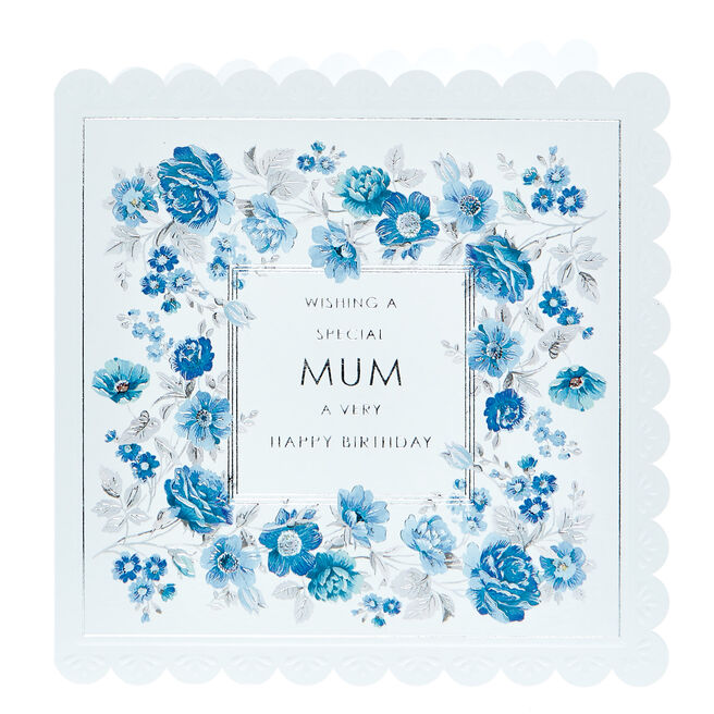 Birthday Card - Special Mum, Blue Flowers