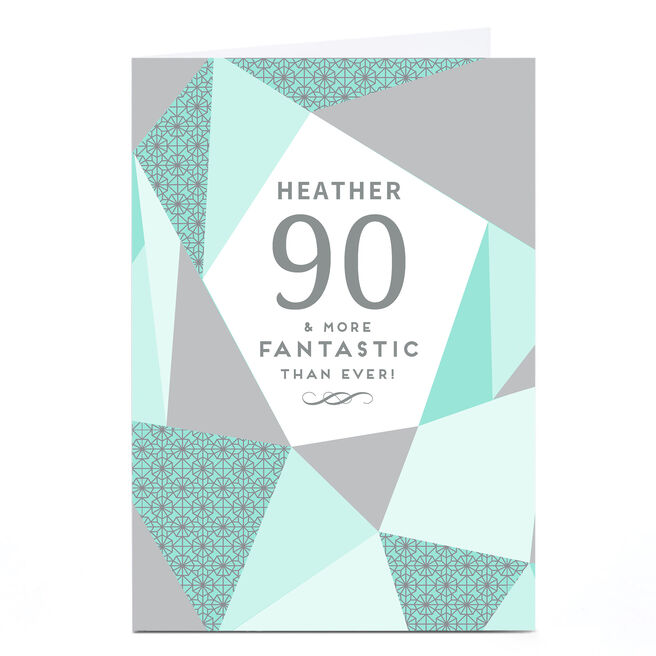 Personalised 90th Birthday Card - Geometric Mint