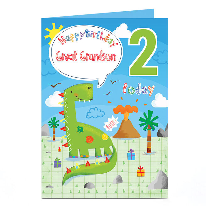 Personalised Any Age Birthday Card - Green Dinosaur [Any recipient]