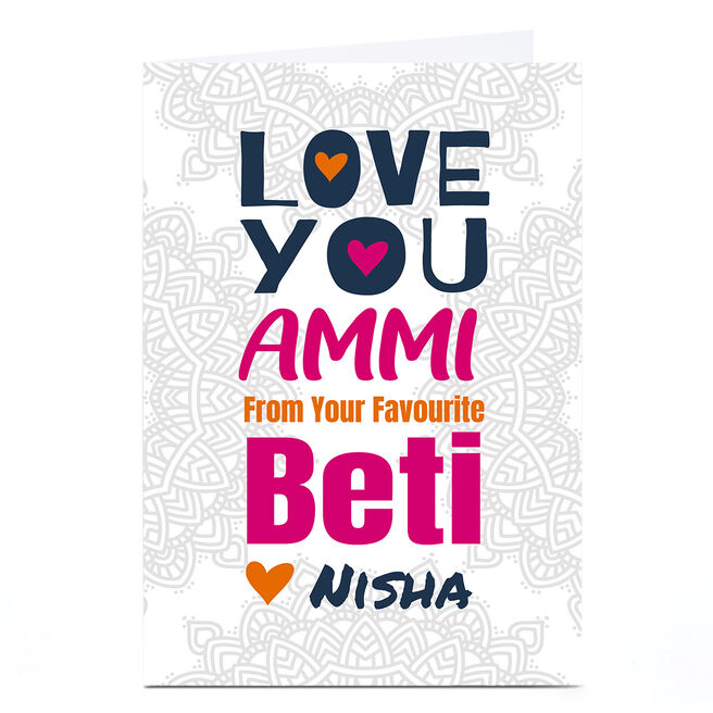 Personalised Roshah Designs Mother's Day Card - Love You Beti